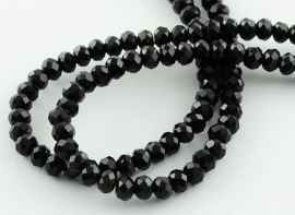 Faceted Rondelles 2 x 2,5 mm Black F788 (per 198 beads)
