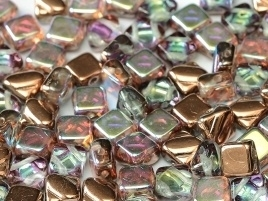 Silky Beads 2-Hole 6 x 6 mm Crystal Copper Rainbow (per 14)