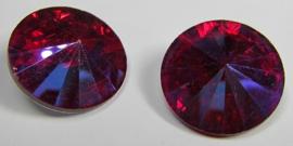 Glass Rivoli 18 mm Siam Purple Plated (per 1)