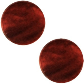 Polaris Cabochon Coin Flat 12 mm Mosso Shiny Port Red (per 1)