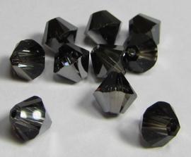 Swarovski Bicone 6 mm Crystal Silver Night (per 10)