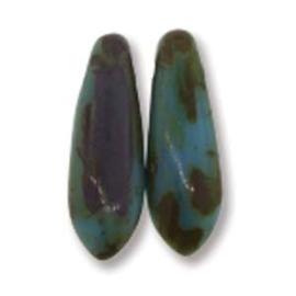 Dagger Beads 3/11mm Opaque Blue Picasso (per 10)