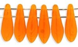 CzechMates Two Hole Daggers 5/16mm Opal Orange (per 14)