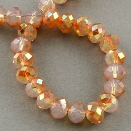 Faceted Rondelles 2 x 3 mm White Opal Orange Plated F892 (per 148 beads)