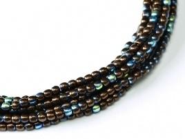 Druk Beads Jet - Bronze AB 2 mm (30 cm strand)