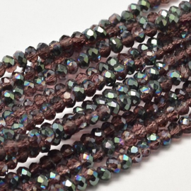 Faceted Rondelles 2 x 3 mm Amethyst Green Plated F1148 (per 148 beads)