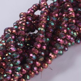 Faceted Rondelles 6 x 8 mm Metallic Sliperit Plated F1316 (per 71 beads)