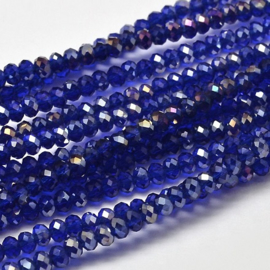 Faceted Rondelles 2 x 3 mm Cobalt AB F1140 (per 148 beads)