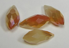 Faceted Drops 12 x 6 mm Cream Orange Plated (per 4 beads)