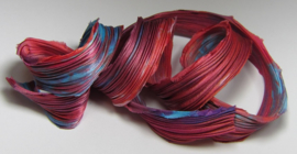 Shibori Silk Red & Turquoise Ice Dyed (per 20 cm)