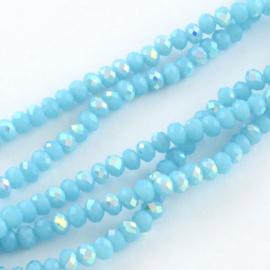 Faceted Rondelles 6 x 8 mm Opaque Aqua AB F1197 (per 70 beads)