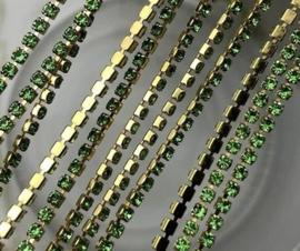Cup Chain SS6 2 mm Gold - Peridot (per 50 cm)