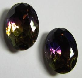 Glass Oval 10 x 14 mm Dual Coated Purple/Ochre (per 1)