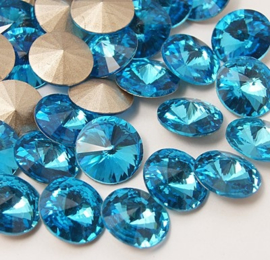 Glass Rivoli 14 mm Aquamarine (per 2)