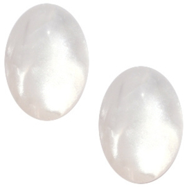 Polaris Cabochon Oval 13 x 18 mm Mosso Shiny Bianco White (per 1)