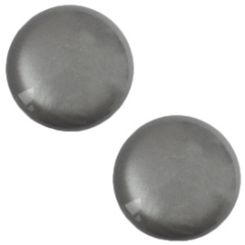 Polaris Cabochon Munt Plat 12 mm Shiny Silver Night (per stuk)