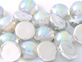 Dome Beads 10 x 6 mm Crystal Silver Rainbow (per 5)