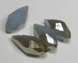 Faceted Drops 12 x 6 mm Grey Opal Golden Plated (per 4 beads)