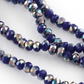 Faceted Rondelles 6 x 8 mm Opaque Cobalt AB Plated F1075 (per 70 beads)
