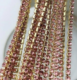 Cup Chain SS6 2 mm Gold - Pink (per 50 cm)
