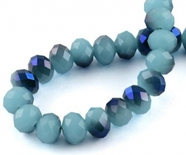 Faceted Rondelles 6 x 8 mm Milky Blue Purple Plated F726 (per 71 beads)