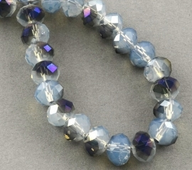 Faceted Rondelles 2 x 3 mm White Opal Purple Plated F841 (per 148 beads)