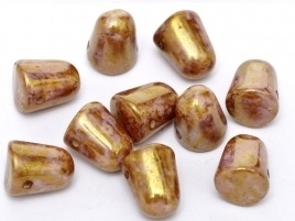 Gumdrops 7 x 10 mm Chalk White Lila Gold Luster (per 10)