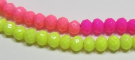 Faceted Rondelles 3 x 4 mm Luster Opaque Neon Mix F759 (per 198 beads)