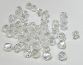 Glass Bicones 4 mm Crystal AB (per 50)