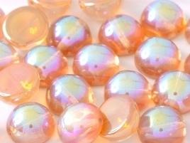 Dome Beads 10 x 6 mm Crystal Orange Rainbow (per 5)