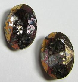 Glass Oval 10 x 14 mm Crystal Sliperit Patina (per 1)