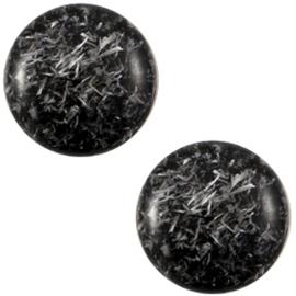 Polaris Cabochon Coin 20 mm Feltro Shiny Nero Black (per 1)