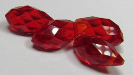 Faceted Drops 12 x 6 mm Siam (per 4 beads)