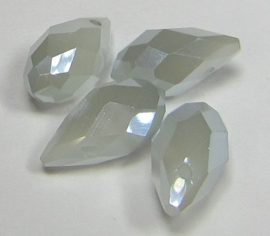 Faceted Drops 12 x 6 mm White Light Grey Plated (per 4 beads)