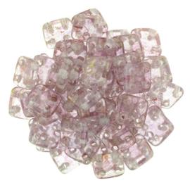 CzechMates QuadraTiles Luster - Transparent Topaz/Pink (per 5 gram)