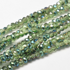 Faceted Rondelles 2 x 3 mm Peridot Green Plated F1149 (per 148 beads)