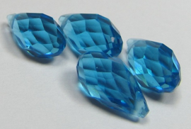 Faceted Drops 12 x 6 mm Aqua (per 4 beads)