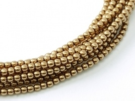 Glass Pearls Antique Gold 2 mm (36 cm strand)