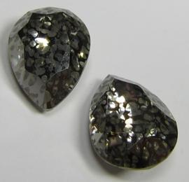 Glass Drop 13 x 18 mm Crystal Nickel Patina (per 1)