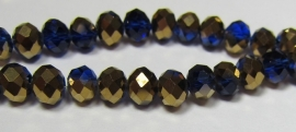 Faceted Rondelles 4 x 6 mm Cobalt Gold Plated F1006 (per 98 beads)
