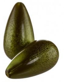 Resin Drop 26 x 14 mm Golden Olive Green (per 1)