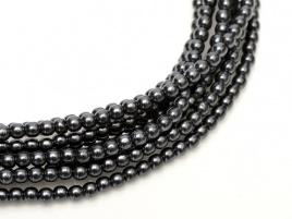 Glass Pearls Dark Grey 2 mm (36 cm strand)