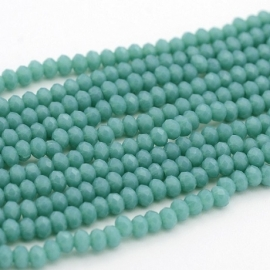 Faceted Rondelles 2 x 3 mm Milky Teal Green F1031 (per 138 beads)