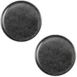 Polaris Cabochon Munt Plat 12 mm Soft Shiny Black (per stuk)
