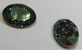 Glass Oval 10 x 14 mm Crystal Green Patina (per 1)