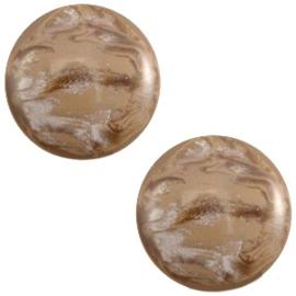 Polaris Cabochon Coin 20 mm Jais Woodsmoke Brown (per 1)