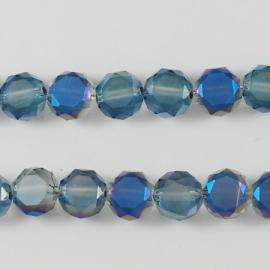 Facet Muntjes Frosted Crystal Half Plated Blue F715 (per 98 kralen)