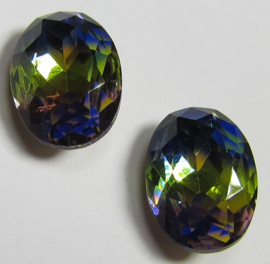 Glass Oval 10 x 14 mm Dual Coated Rainbow (per 1)