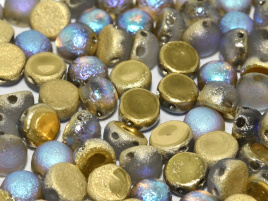 2-Hole Cabochon 6 mm Crystal Etched Golden Rainbow (per 6)