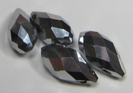 Faceted Drops 12 x 6 mm Silver Plated (per 4 beads)